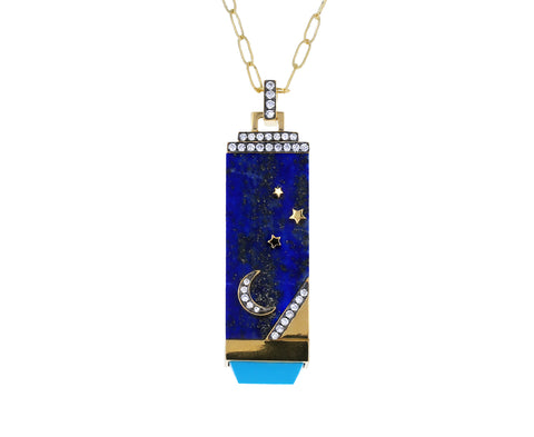 Lapis, Turquoise and Diamond Crescent Moon Tablet Necklace