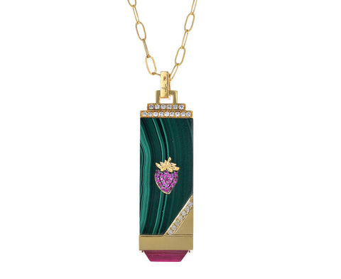 Malachite, Diamond and Pink Sapphire Fragola Tablet Necklace