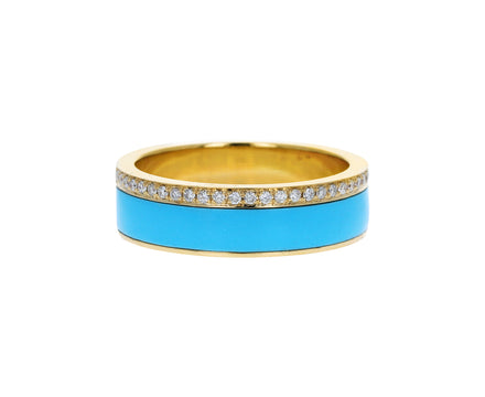 Turquoise Inlay and Diamond Band