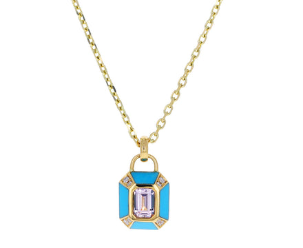 Turquoise, Morganite and Diamond Nomad Inlay Pendant Necklace