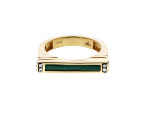 Malachite and Diamond Stacking Ring