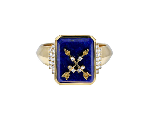 Lapis Arrow Signet Ring