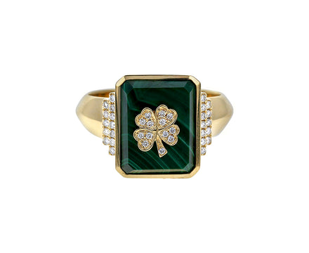 Malachite and Diamond Clover Signet Ring