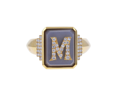 Gray Moonstone and Diamond 'M' Signet Ring