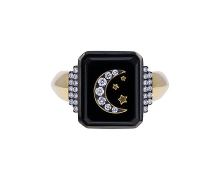 Black Onyx and Diamond Moon and Stars Signet Ring