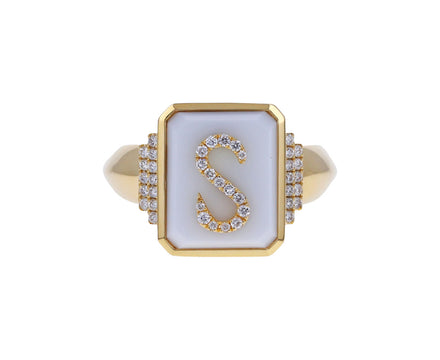 Diamond and White Onyx 'S' Signet Ring