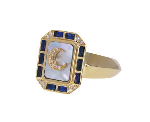 Mother-of-Pearl and Sapphire La Luna Signet Ring