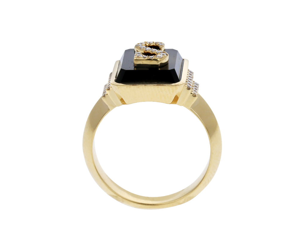 Diamond and Onyx Signet Ring