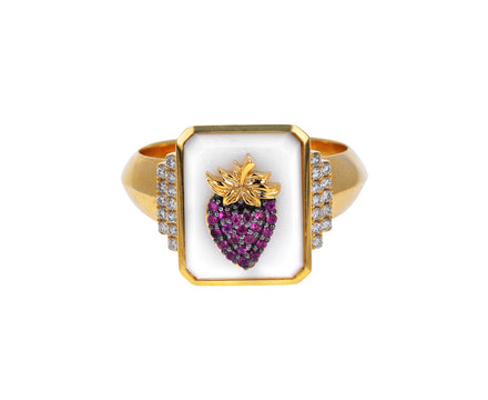 White Onyx and Pink Sapphire Fragola Signet Ring