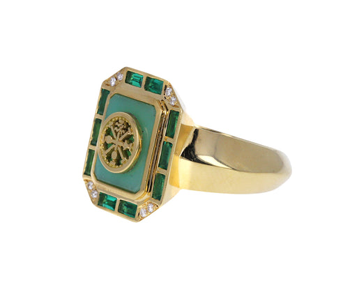 Chrysoprase and Emerald La Ruota Signet Ring