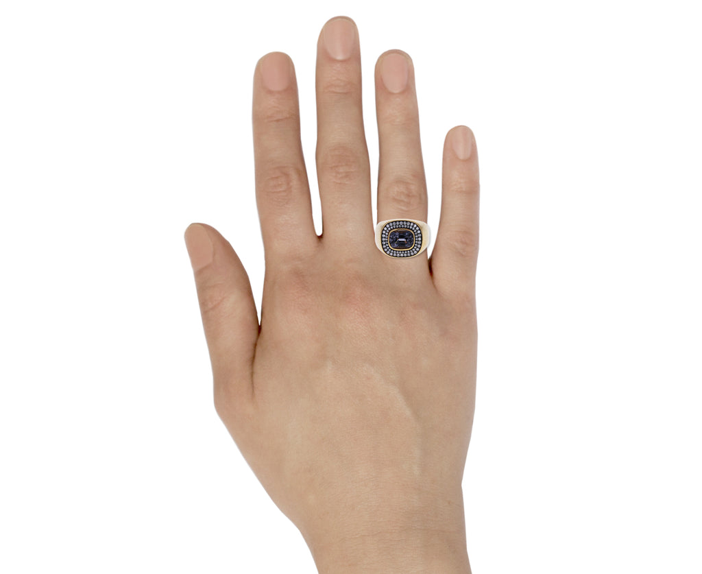 Gray Blue Spinel with Diamonds Nomad Ring