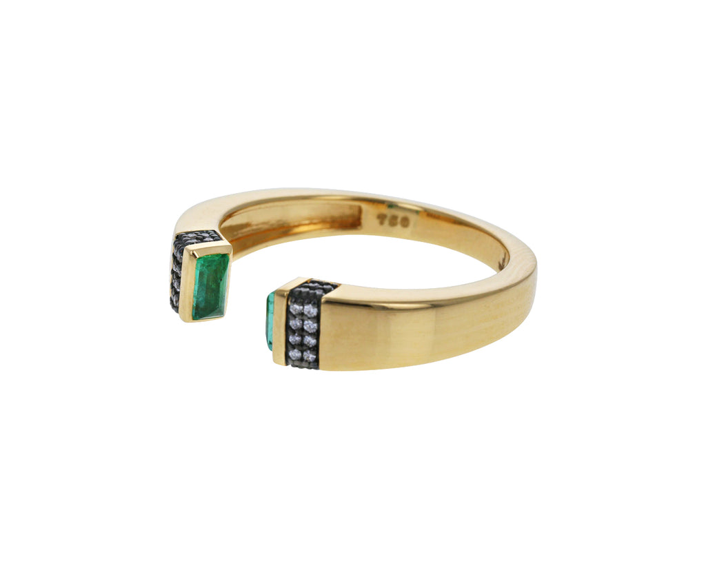 Emerald Open Stack Ring