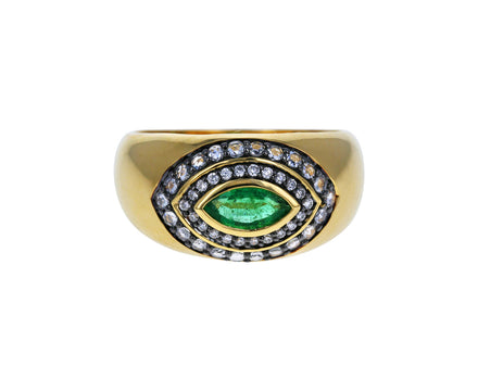 Emerald and Diamond Axl Marquise Ring