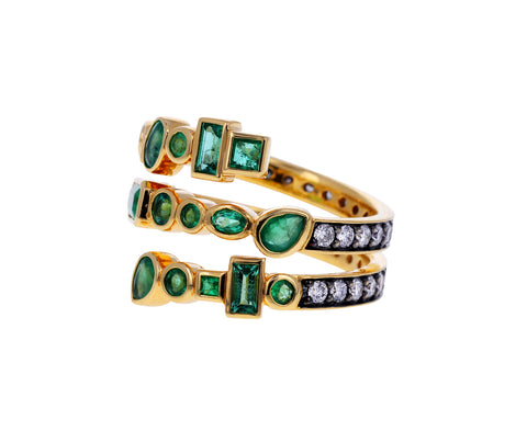 Emerald and Diamond Multi Coil Twist Ring
