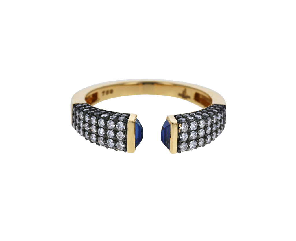Blue Sapphire and Diamond Open Stacking Ring