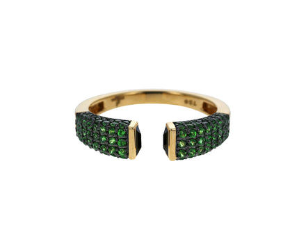 Black Spinel and Tsavorite Garnet Open Stacking Ring