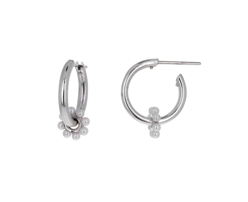 Silver and Akoya Pearl Ara Bloom Hoop Earrings