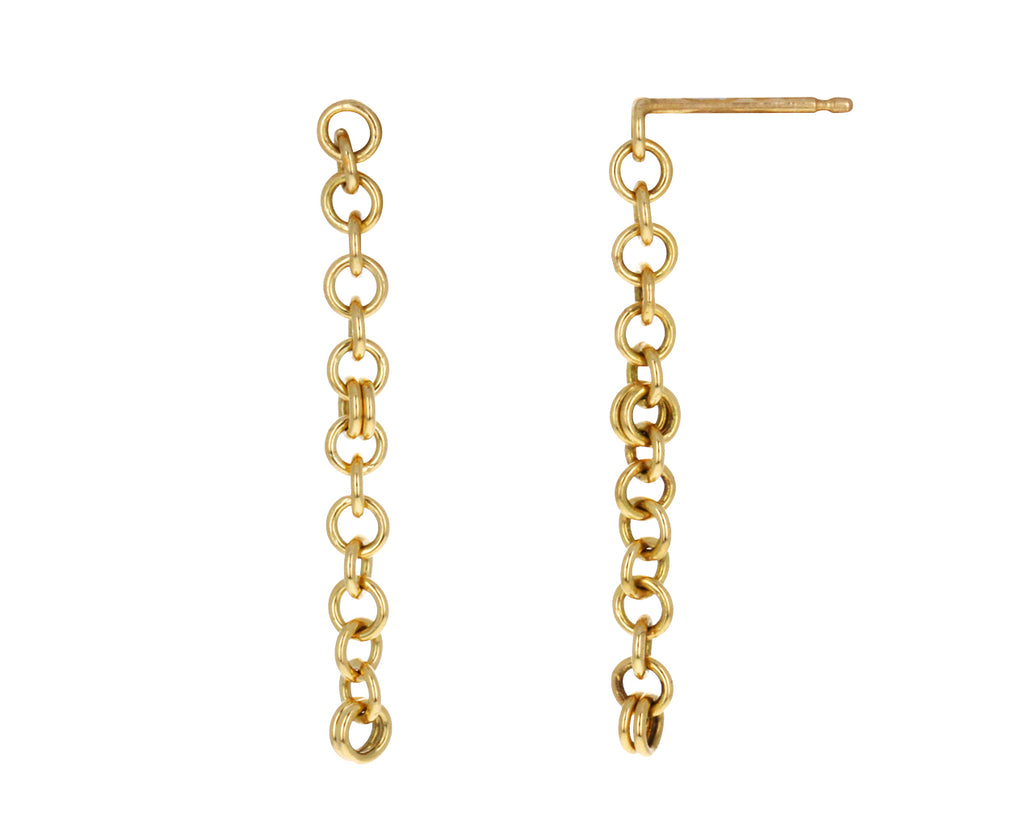 Yellow Gold Anaka Gravity Chain Earrings