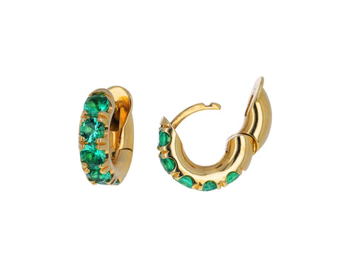 Gold and Emerald Mini Macro Hoop Earrings