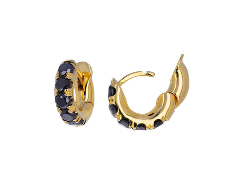 Gold and Black Diamond Mini Macro Hoop Earrings
