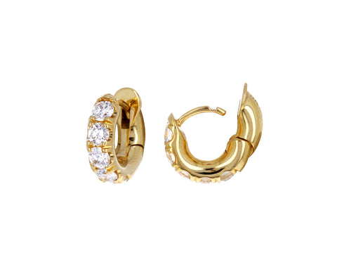 Gold and Diamond Mini Macro Hoop Earrings