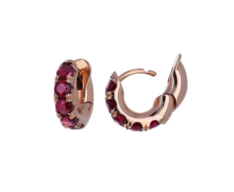 Rose Gold Ruby Mini Macro Hoop Earrings