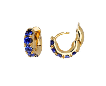 Gold and Blue Sapphire Mini Macro Hoop Earrings