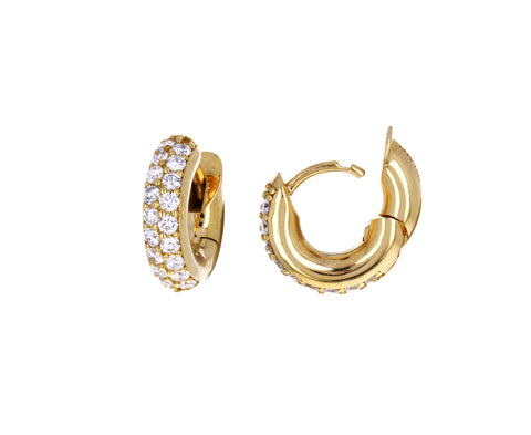 Double Diamond Mini Macro Hoop Earrings