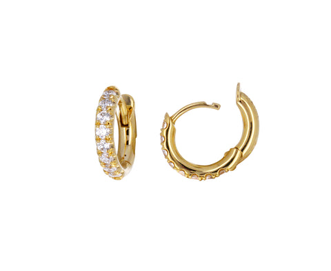 Gold and Diamond Mini Micro Hoop Earrings
