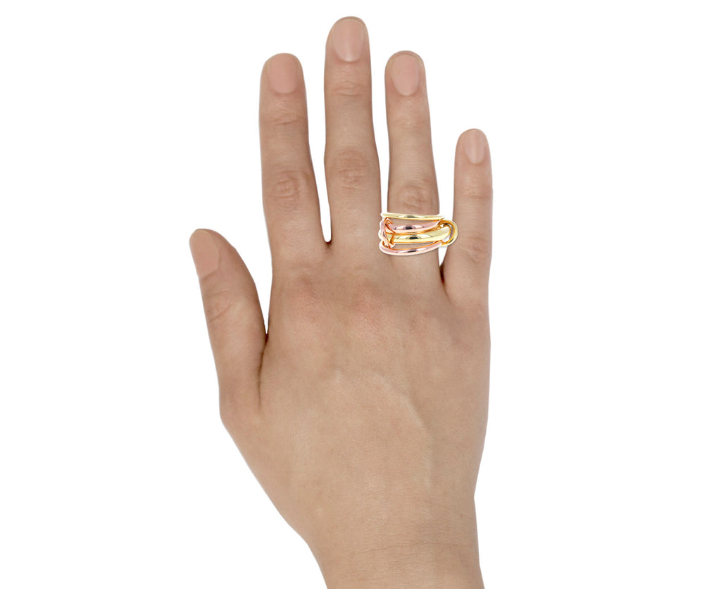 Mixed Gold Rain Four Linked Ring