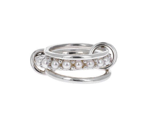 Silver and Akoya Pearl Triple Linked Rings