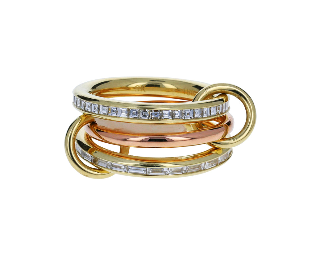 Gold and Baguette Diamond Mozi Ring
