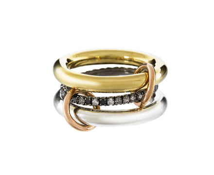 Gold, Silver and Diamond Triple Libra Ring - TWISTonline