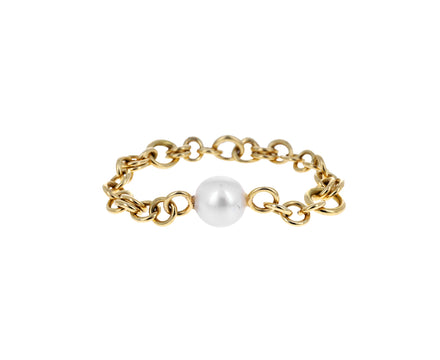 Gold and Akoya Pearl Gravity Chain Ring