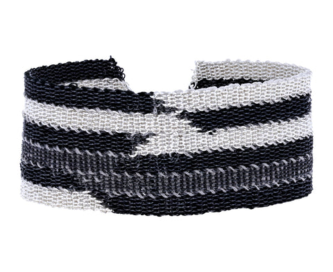 Wide Woven Sterling Silver Striped Bracelet