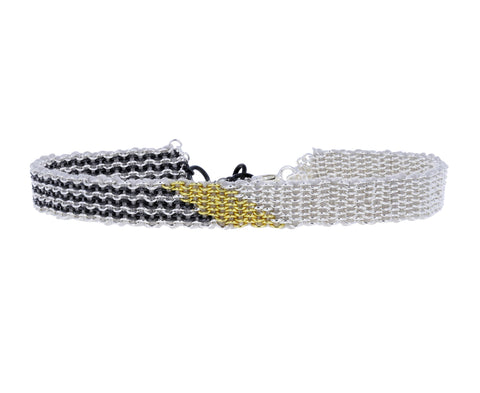 Striped Mixed Metal Woven Bracelet