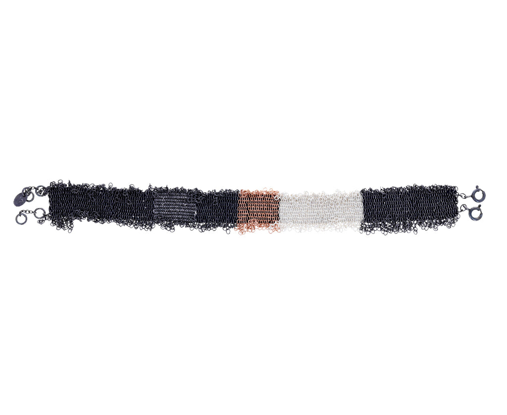 Woven Mixed Metal Striped Fringe Bracelet