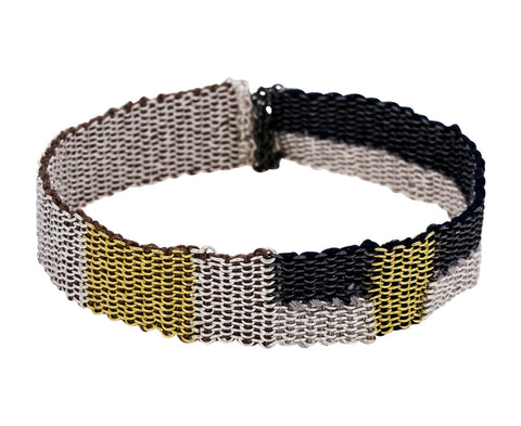 Silver and Gold Block Woven Chain Bracelet - TWISTonline