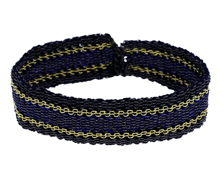 Blue Tone Mixed Metal Woven Stripe Bracelet