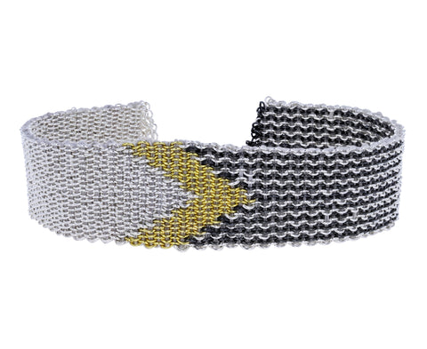 Mixed Metal Geometric Woven Silk Bracelet