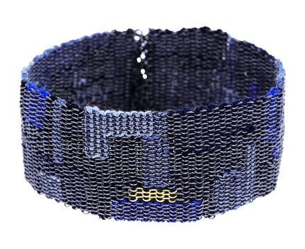 Blue Tone Silver and Gold Woven Chain Bracelet