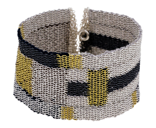 Wide Silver and Gold Block Woven Chain Bracelet - TWISTonline