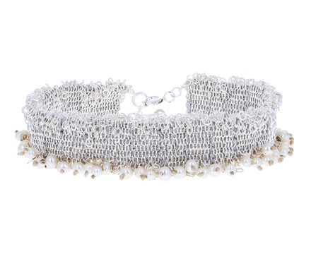 White Pearl and Sterling Silver Chain Bracelet