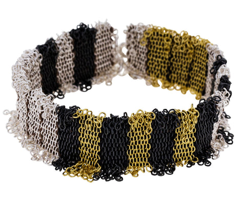 Wide Mixed Metal Stripe Woven Silk Chain Bracelet - TWISTonline