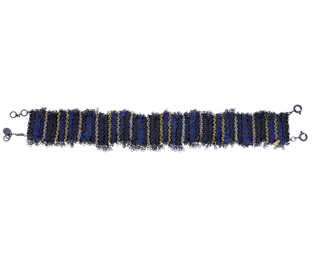 Blue Tone Woven Mixed Metal Striped Bracelet