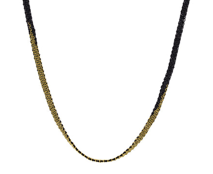 Silver Gold and Silk Woven Necklace - TWISTonline