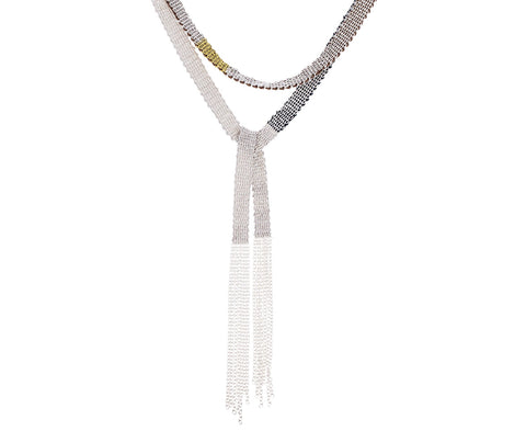 Mixed Metal Long Shawl Necklace - TWISTonline