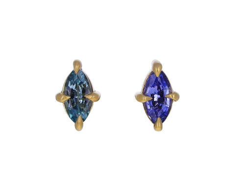 Mismatched Peacock and Indigo Marquise Sapphire Stud Earrings
