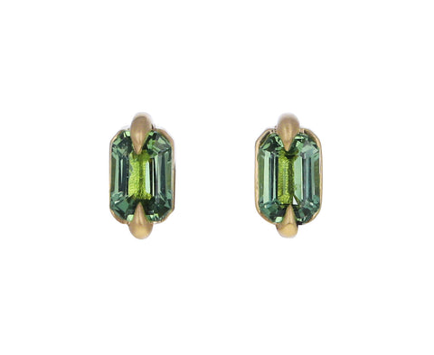 Dark Mint Green Sapphire Stud Earrings