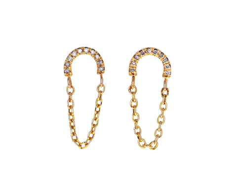Diamond Arc and Chain Earring